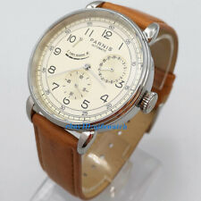 42mm PARNIS Beige dial Classic Power Reserve Indicator automatic mens watch 2968