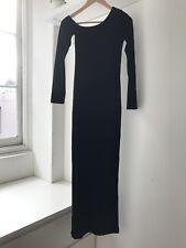 Joshua Berger Black Suede One Off the Shoulder Slit Maxi / Long Dress, AU Size 8