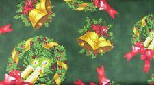 1 metro de longitud media carillón de Navidad y coronas de flores tela de la impresión 23407-f