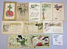 Lot of 10 Vintage 1900s Easter Flowers Greetings Holiday Post Cards Wishes #6