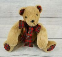 "Teddy Bear Plush 15"" Stuffed Animal Fully Jointed Red Plaid Inner Ears Neck Tie"