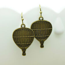 Hot Air Balloon Earrings, Antique Bronze Finish Vintage Style Charm Pendant