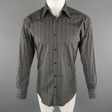 551784fd6 GUCCI Size S Black & Grey Stripe Cotton Long Sleeve Fitted Shirt