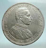 1913 GERMANY GERMAN STATES PRUSSIA WILHELM II Genuine Silver 5 Mark Coin i79784
