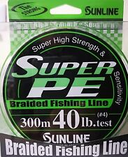 SUNLINE SUPER PE BRAIDED DYNEEMA LINE 300m 40lb #4 COLOR GREEN FLUO JAPAN