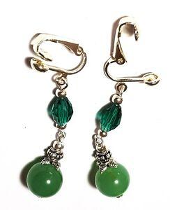 Long Silver Green Agate Clip-On Earrings Crystal Glass & Gemstone Drop Dangle
