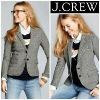 J Crew Black Cream Wool Blend Houndstooth Schoolboy Blazer Sz 2