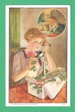 1912 ADVERTISING POSTCARD BELL TELEPHONE SOCIAL CALL LADY GETS ROSES CALLS GENT