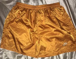 🔥 Nike Nylon silky satin soccer shorts Orange size XL