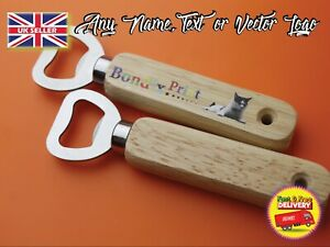 bottle opener with wood handle personalised with any logo name text photo