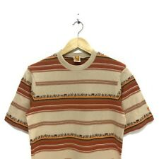 Vintage 70s HANG TEN USA Animals Zoo Aztec Safari Colorblock Striped M Tee Shirt
