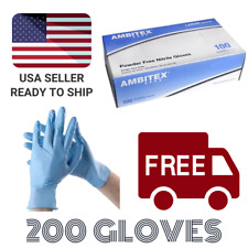 200 / 2 Boxes Blue Nitrile Gloves Powder Free (Latex Free) 4 mil - Size Small