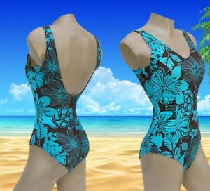 Ladies Oyster Bay 1 Piece Choco & Turquoise Floral Swimming Costume