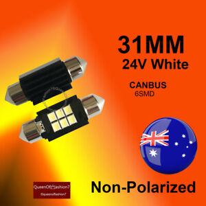 2x 24V LED 31MM Festoon Interior Car/Auto CANBus 6SMD Light Bulb White Globe