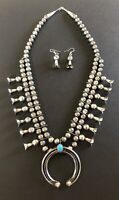 Native American Navajo Graduated Sterling Silver Hand Stamped Bead Necklace Julianseta Morgan 18-22 Free US Shipping