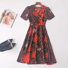 Women's clothing Summer Mid-length style Printed dress temperament lively