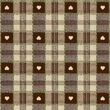 1.4X2.5m OVAL BROWN HEARTS OILCLOTH / PVC WITH PARASOL HOLE / GARDEN TABLECLOTH