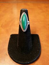 Green Agate Ring Sz 4.5 Unique Vintage Handmade Sterling Mexico Longated Marquis