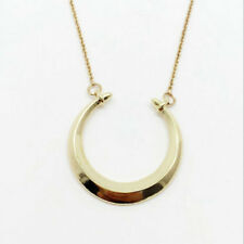 Gold plated Double Horn Pendant Lobster Clasp Closure Dot Necklace
