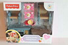 Fisher-Price Loving Family Dining Room Dollhouse Furniture Set Table Chairs NEW
