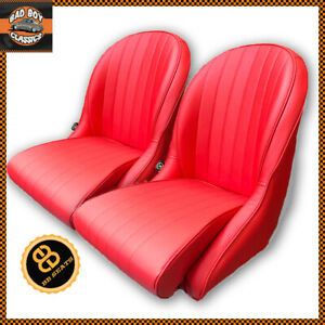 Pair Red BB Vintage Classic Car Bucket Seats Low Rounded Back Ideal For AC COBRA