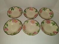 """Set of 6 Vintage Franciscan Desert Rose 6"""" Cereal Fruit Bowls USA TV Mark"""