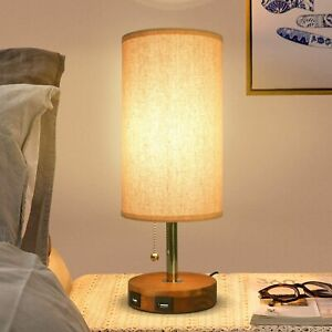 Modern USB Table Lamp Fabric Bedside Table Lamp With Dual USB Charging Ports