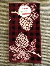 T-FAL PINE CONES RED BLACK CREAM (2) K ITCHEN TOWELS 100% COTTON NWT