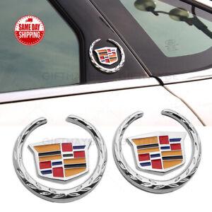 2pcs For Cadillac Fender Marker Door Logo Badge Emblem Car Decoration Sport V