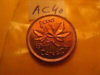 Canada 1947 No Maple Leaf  Mint Grade Penny ID#AC17.