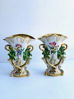 Antique Pair of Old Paris Mantle Vases Circa Late 19 Century