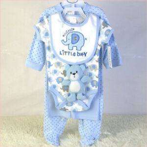 5PCS Set Kid Toddler Baby Romper Pants Bib Teddy Bear Outfits Clothing Gift