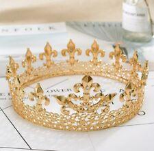 Medieval Full King's Gold Metal Crown Rhinestone Crystal Fleur-De-Lis Men's H919