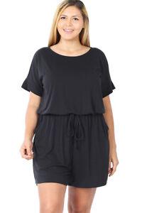 Women's Romper Plus Size Casual Jumpsuit  Elastic Waist Plus Size Shorts