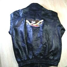 New listing Vtg Leather Motorcycle Jacket Coat Mens Size L. God bless America patch