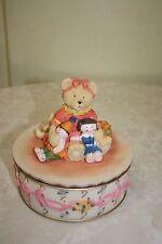 LARGE PINKISH TEDDY BEAR RESIN TRINKET BOX/HOLDER/ORGANIZER/CONTAINER BRAND NEW