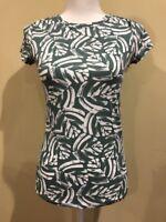 Ann Taylor Loft Green White T Shirt Size XS
