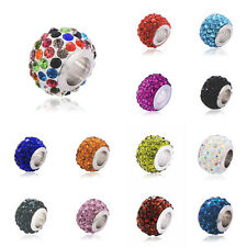 5Pcs Silver plated charm it love beads Authentic crystal Fit European bracelet