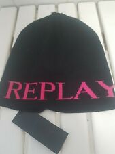 Replay Beanie Hat Black And Pink One Size Brand New