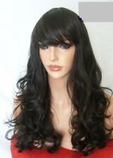 Dark Brown Hair Fashion long natural look full head wavy curly Ladies Wig B2