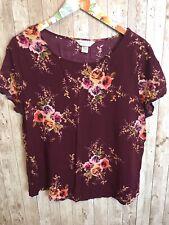 Christopher Banks Petite XL Short Sleeve Burgundy Floral Print Blouse