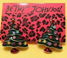Betsey Johnson Green Enamel Stud Rhinestone Crystal Christmas Tree Earrings NWT