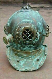 Vintage Boston Scuba US Navy Mark V Divers Diving Helmet Antique Morse Brass SCA