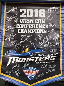 2016 Team Signed Autographed LAKE ERIE MONSTERS Calder Cup CHAMPIONS Banner AHL