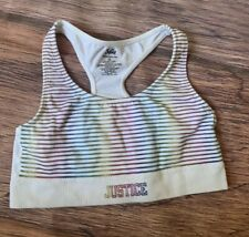 Justice~ White Racerback Sport Bra With Colorful Stripes- Size 28