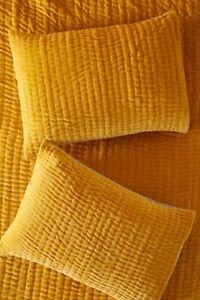 Set 2 Anthropologie Kantha-Stitched Velvet Shams Pillowcases Standard Maize NWT