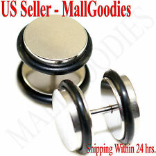 """2084 Fake Cheaters Illusion Faux Ear Plugs 16G Surgical Steel 1/2"""" 12mm Largest"""