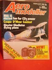 AEROMODELLER FEBRUARY 1983 MIG 15 FREE FLIGHT CO2 PLANS GLOSTER GLADIATOR