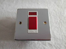 KINGSWAY 45AMP 1 GANG DP SWITCH WITH PILOT LIGHT POLISHED CHROME WHITE INSERT