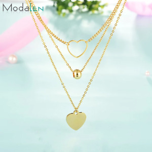 Triple stainless steel chain Jewellery For Women Gold colour necklace with choke